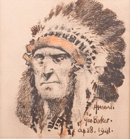 Artist John Hassall: Self Portrait (Red Indian Chief)