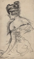 Artist Albert de Belleroche: Waist-length study of a model, seen in three quarter rear view, with bandeau