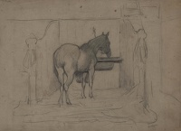 Artist Albert de Belleroche: Study of a horse in a stable