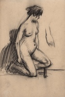 Artist Albert de Belleroche: Model posed kneeling with her left leg slightly raised