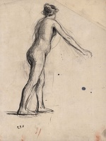 Artist Albert de Belleroche: Standing female nude, leaning forward, three quarter rear view