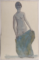 Artist William S Taylor: Full length nude with blue drape