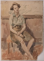 Artist William S Taylor: Portrait of a woman seated, 1945