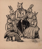 Artist Stanley Lewis: Seated fox surrounded with rabbits