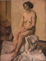Artist Barnett Freedman: Artist model seated in studio,
