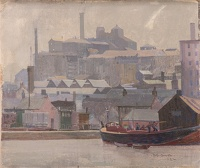Artist Robert Austin: Spiers Wharf on the Forth and Clyde Canal, Glasgow 1922