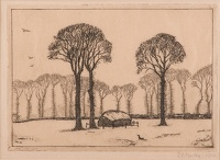 Artist John Moody: Elm Trees in Essex , 1928