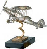 Artist Albert Kalkert: Model of a Gotha Go 145 biplane trainer