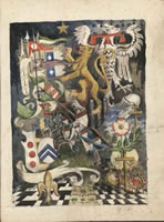 Artist Arthur Kemp: Composition with Knight and Symbols (AK266)
