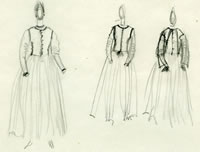 Artist Winifred Knights: The Artist in a dress of her own design: three sketches, circa 1922