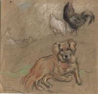 Artist Horace Mann Livens: The Artists Dog with Fowl, circa 1900