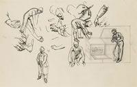 Artist Evelyn Dunbar: Sheet of studies of a gardener planting seedling