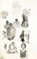 Artist Charles Mahoney: Study sheet with figures for Gas Mask Drill, 1939