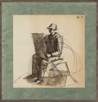 Artist Charles Mahoney: The Artist seated sketching, circa 1960