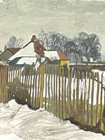 Artist Charles Mahoney: View from Oak Cottage, winter snow, circa 1938