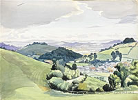 Artist Majorie Hayes: View of Severn Valley from Great Dean above Little Dean, circa 1940