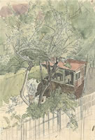 Artist Charles Mahoney: View from rear window at Mahoneys family home, Anerley, c.1922