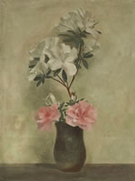 Artist John Haggis: Vase of peony and rhododendron, c. 1929