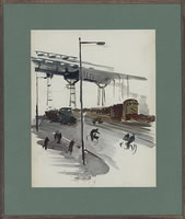 Artist Charles Cundall: Cyclists and pedestrians by the docks, circa 1940