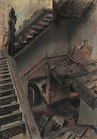 Artist Catherine Olive Moody: Stairwell of a derelict house, circa 1968