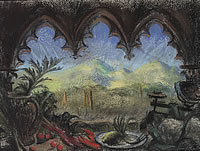Artist Catherine Olive Moody: Landscape viewed through a gothic arch, circa 1968
