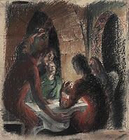 Artist Catherine Olive Moody: Study for Composition Supper at Emmaus, July 1983