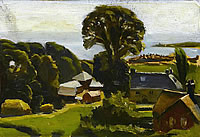 Artist John Moody: Farmhouses near Swanage, 1926