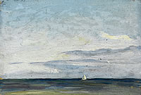 Artist John Moody: Seascape with White sailing Boat, Swanage, 1926