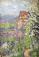Artist Arthur Studd: House with Spring Blossom Tree on the Foreground