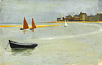 Artist John Moody: Houlgate, view along the bay with red sails, 11th September 1926
