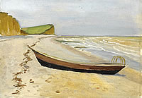 Artist John Moody: Beached boat, St Aubin Sur Mer, 7th September 1927
