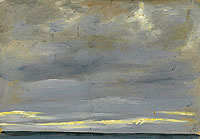 Artist John Moody: Houlgate, late Evening with sunlit clouds and low horizon, 6th September 1926