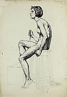 Artist Barbara Constance Freeman: Profile study of a nude, holding a stick, seated on a stool , 19 January 1928