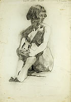 Artist Barbara Constance Freeman: Study of seated nude , 12 October 1926