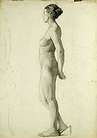Artist Barbara Constance Freeman: Profile study of nude standing, arms behind her back, right foot raised on a block, circa 1925