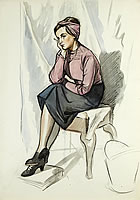 Artist Barbara Constance Freeman: Seated woman, absorbed in thought