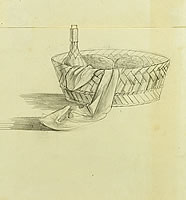 Artist Anne Newland: Still life of basket with wine, bread and napkin