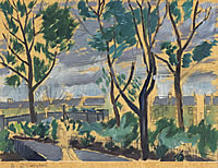 Artist Archibald Ziegler: An avenue of elm trees with terraced houses seen from the rear
