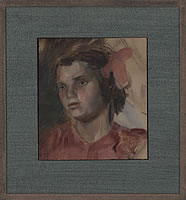 Artist Victor Hume Moody: Portrait of a girl in pink