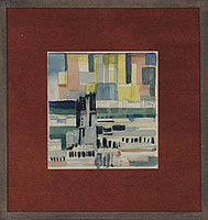 Artist Arthur Kemp: Townscape with towerblocks and terraced houses, cira 1950