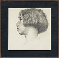 Artist Victor Hume Moody: Profile portrait of a girl