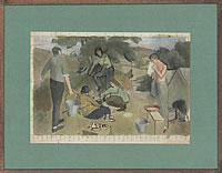 Artist Percy Horton: Colour composition with men and women camping, 1940s