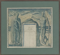 Artist Archibald Ziegler: Mural Design, with Female and Males figures either side of a door, circa 1930