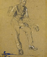 Artist Percy Horton: Study of a man with a jacket on his arm, circa 1915
