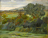 Artist Percy Horton: Hilly landscape with tree and bushes in the foreground
