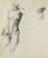Artist Victor Hume Moody: Study of a partial nude, standing, left arm raised