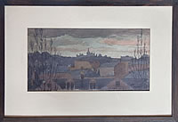 Artist Reginald Goodfellow: Hampstead Church, from Parkhurst Gardens, December 1942