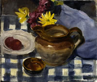 Artist Victor Hume Moody: Still life with Blue Chequered Table Cloth, circa 1920
