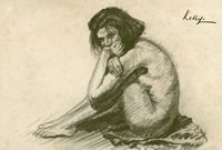 Artist Sir Gerald Festus Kelly: Seated nude, with knees raised and head resting on hands, circa 1910
