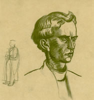 Artist Charles Mahoney: Portrait of Father Martin dArcy (1888-1976) - a study for the Campion Hall murals, circa 1942